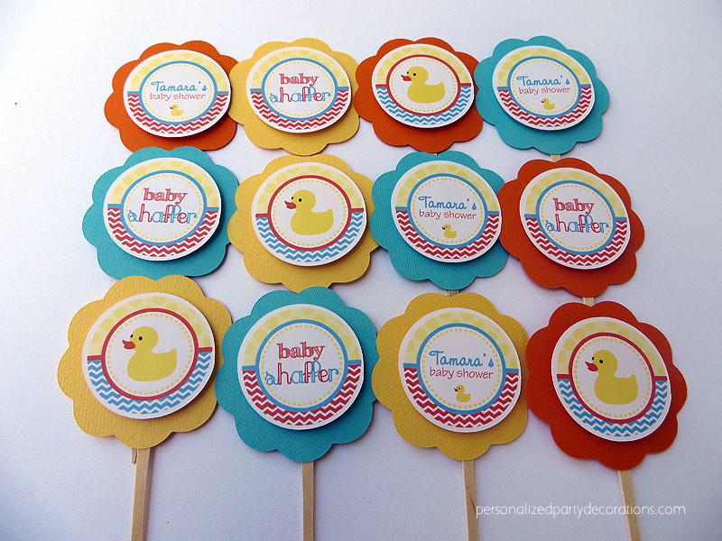 Rubber Duck Baby Shower Cupcake Toppers