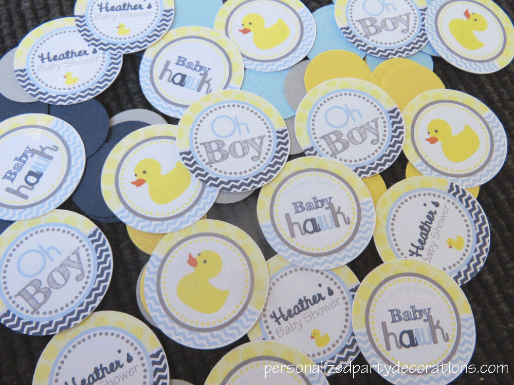 Rubber duck baby shower confetti for Baby confetti decoration