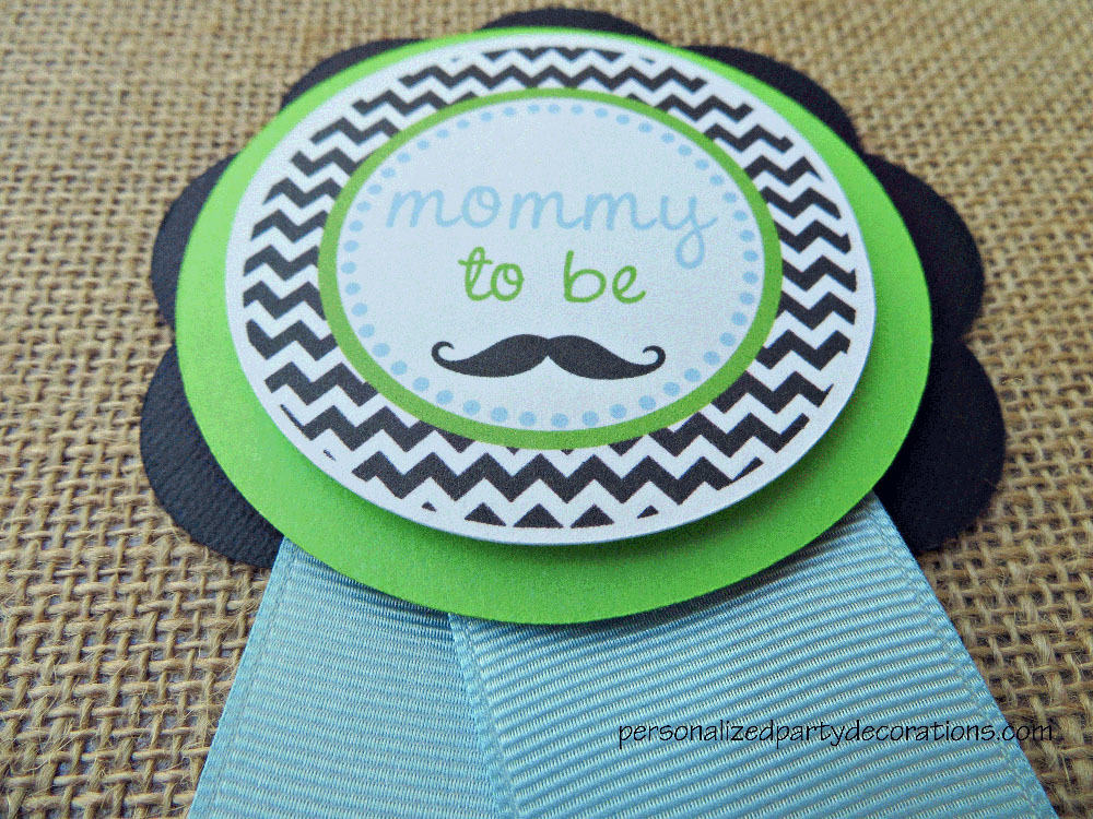 chevron mustache baby shower mom to be pin. Black Bedroom Furniture Sets. Home Design Ideas