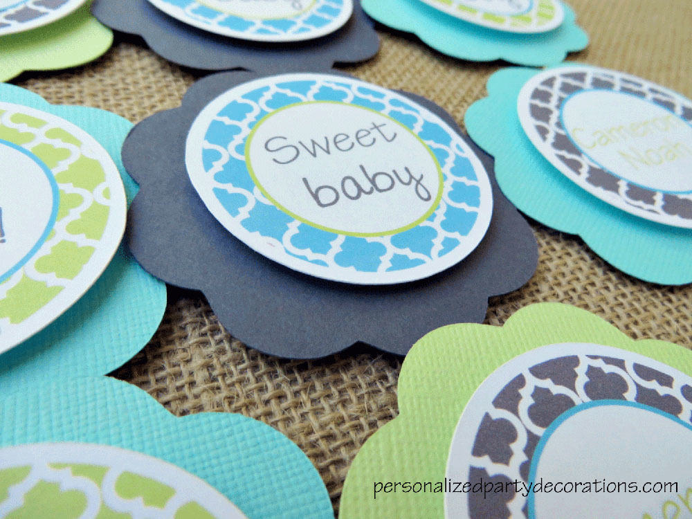 Quatrefoil baby shower cupcake toppers for Baby shower cupcake picks decoration