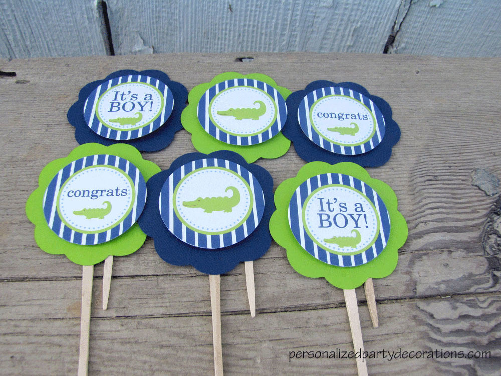 Baby Shower Cupcake Picks Decoration : Alligator Baby Shower Cupcake Toppers