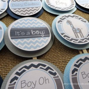 chevron giraffe baby shower cupcake toppers