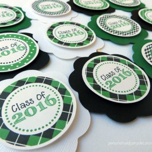 green and black graduation cupcake toppers
