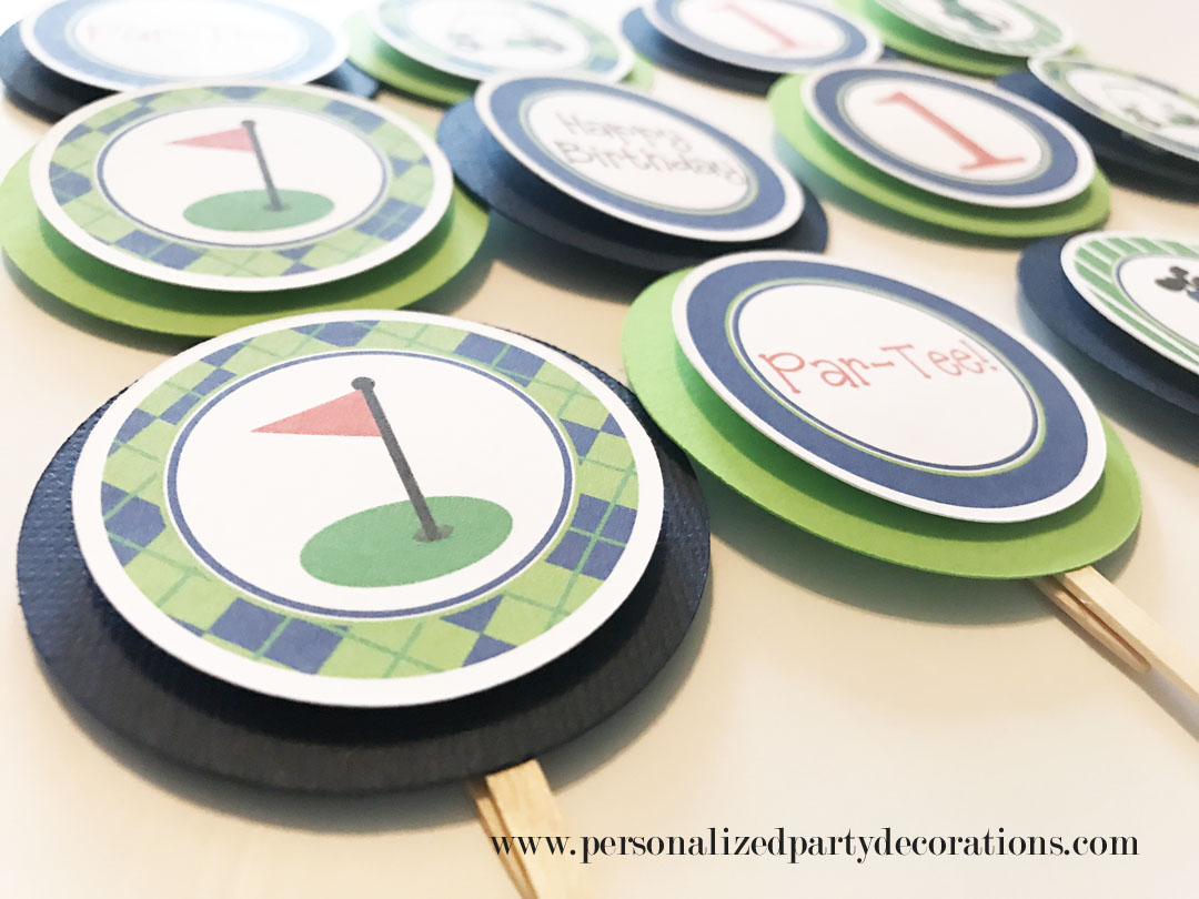 navy and lime golf birthday party cupcake toppers (3)