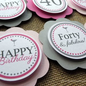 40 and fab birthday party cupcake toppers