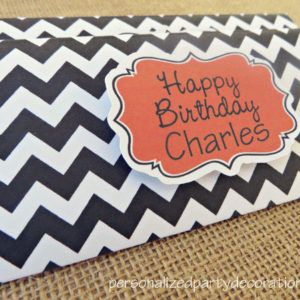 chevron birthday party candy bar wrappers