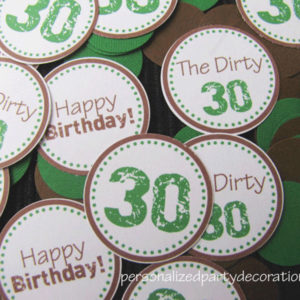 adult birthday party dirty 30 theme table confetti