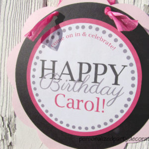 Female adult birthday party door sign