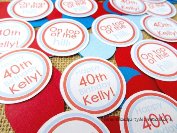 adult birthday party male table confetti