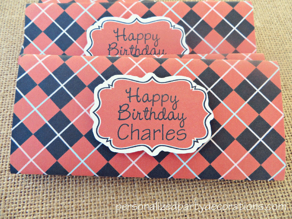 plaid birthday party candy bar wrappers