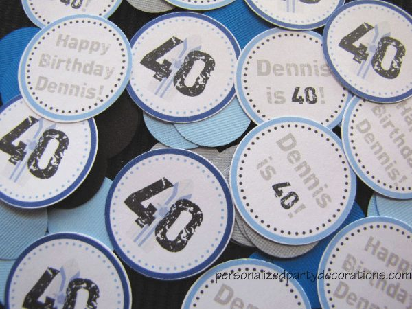 adult birthday party surf theme table confetti