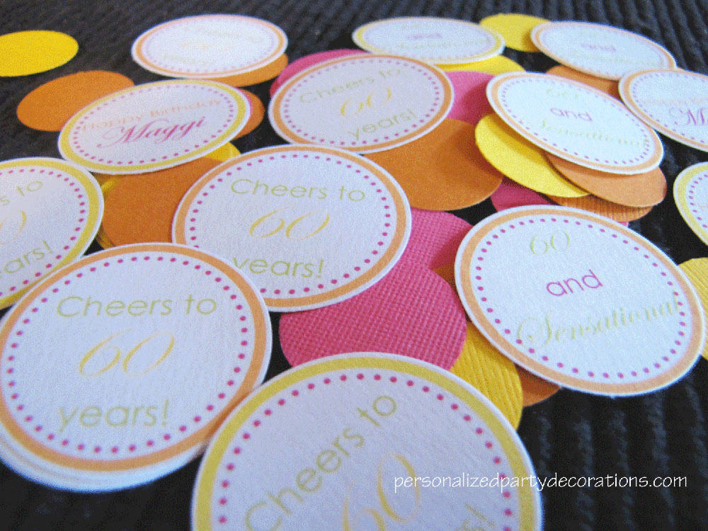 adult birthday party table confetti