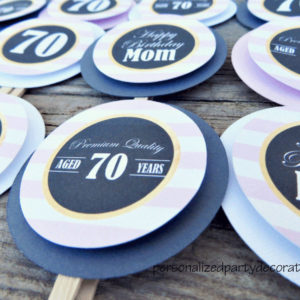 aged to perfection birthday cupcake toppers