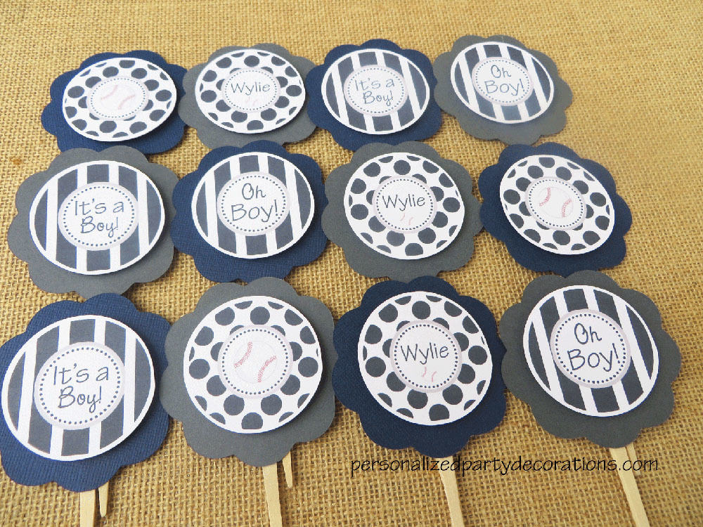 Baseball baby shower cupcake toppers for Baby shower cupcake picks decoration