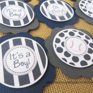 baseball baby shower cupcake picks