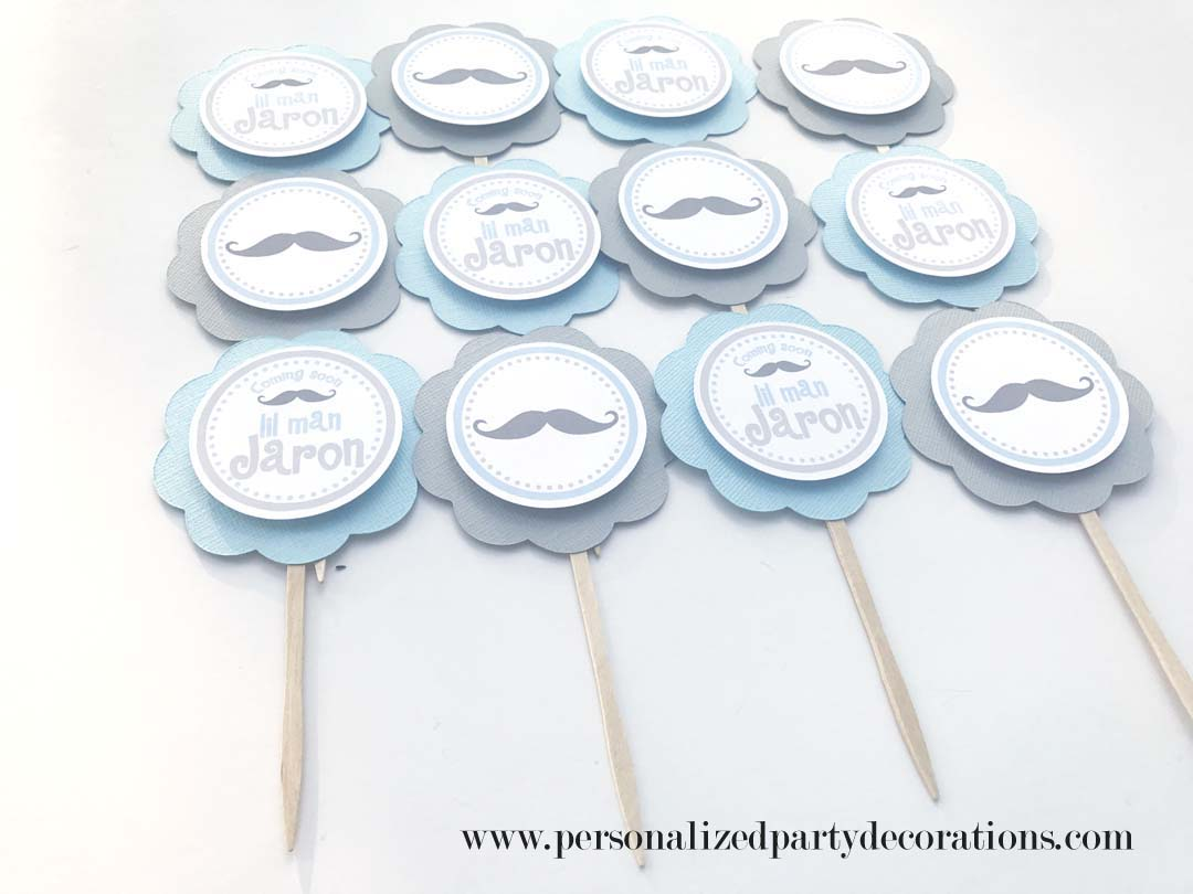 Mustache baby shower cupcake toppers for Baby shower cupcake picks decoration