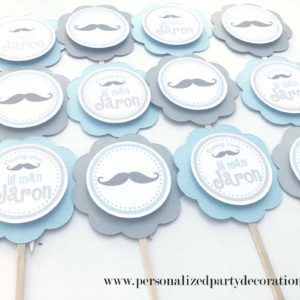 blue gray mustache its a boy cupcake picks