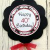 damask birthday party table centerpiece