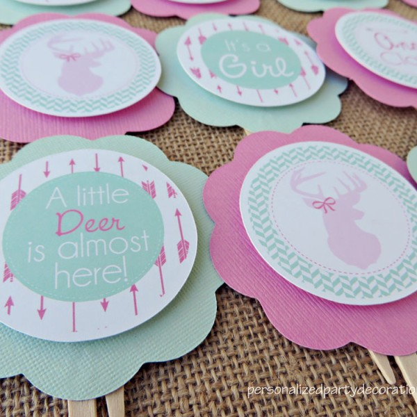 Baby Shower Cupcake Topper Ideas : Deer Baby Shower Cupcake Toppers