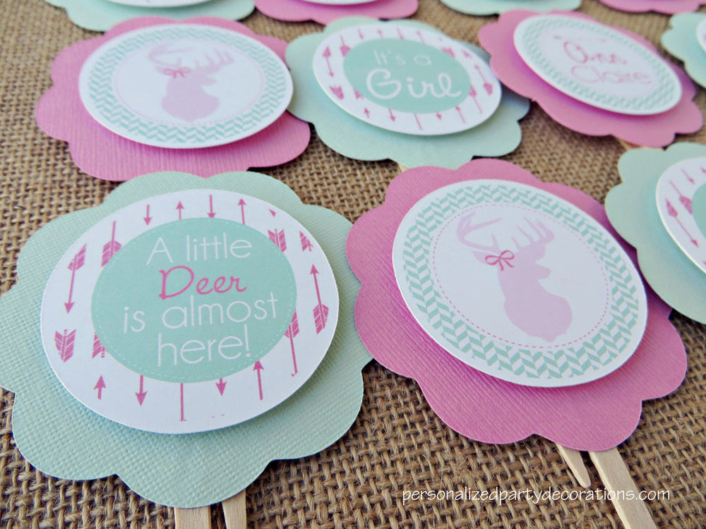 Deer baby shower cupcake toppers for Baby shower foam decoration