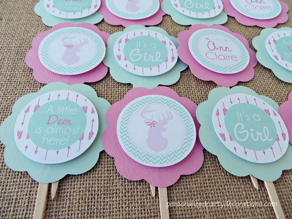 Deer Baby Shower Cupcake Toppers