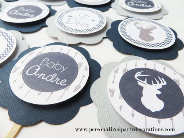 deer navy and gray baby shower cupcake topper decorations (2)