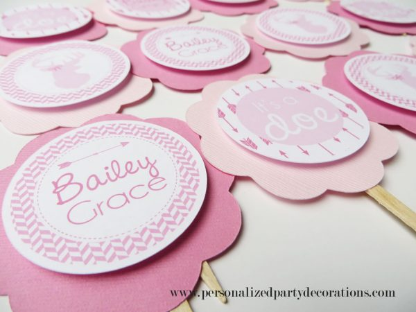 girl doe baby shower cupcake toppers in pink