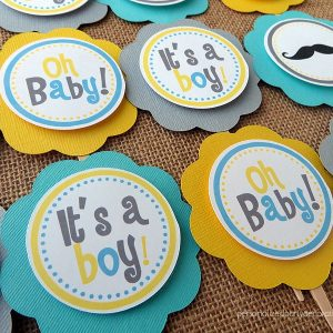 little man baby shower cupcake topper