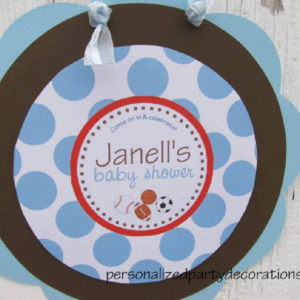 ball baby shower door sign