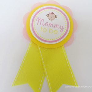 Girl Monkey Baby Shower Mom To Be Pin