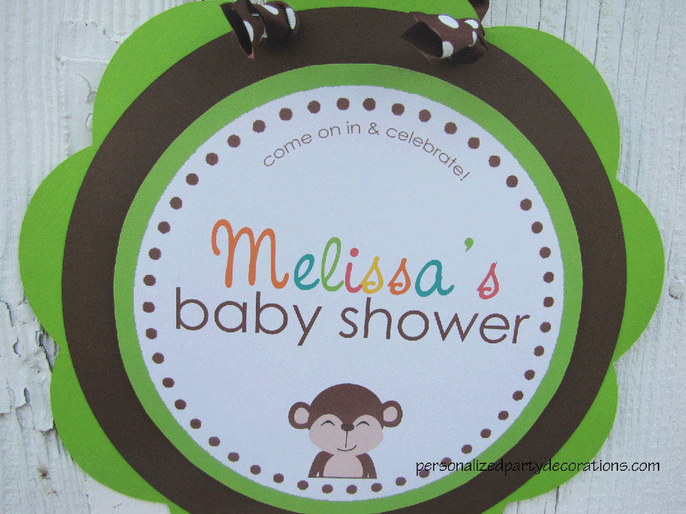 monkey baby shower door sign