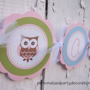 It's a girl owl baby shower banner