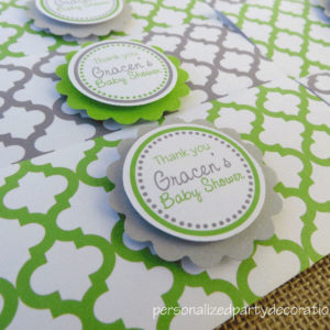 quatrefoil baby shower candy bar wrappers