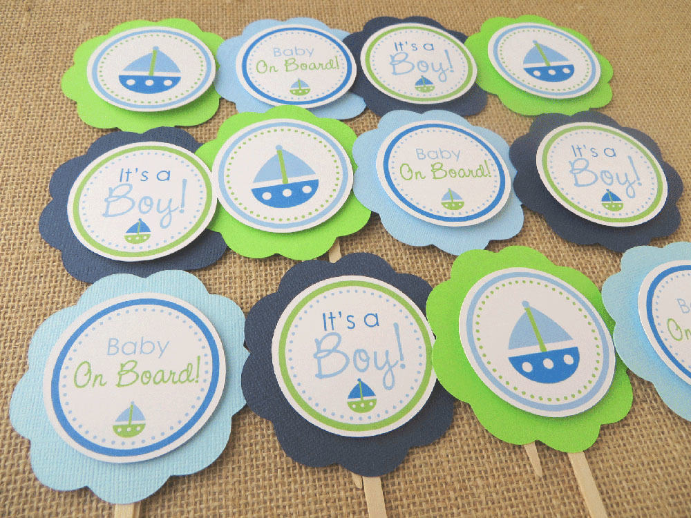 Baby Shower Cupcake Topper Ideas : Nautical Baby Shower Cupcake Toppers