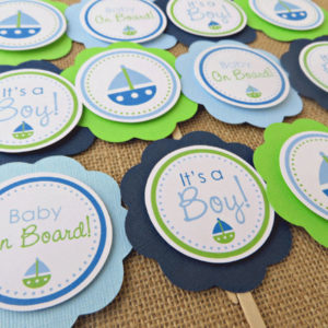Nautical Baby Shower Cupcake Toppers