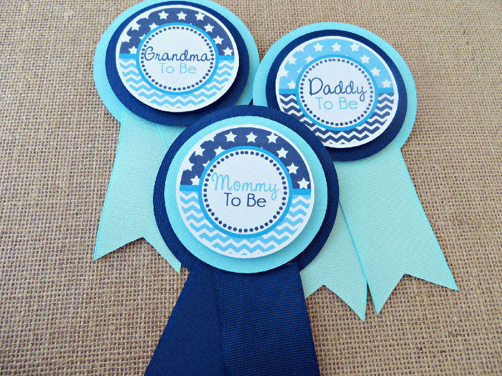 Stars And Chevron Baby Shower Mom To Be Pin
