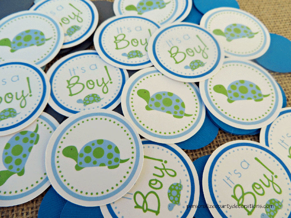 Turtle baby shower table confetti for Baby confetti decoration