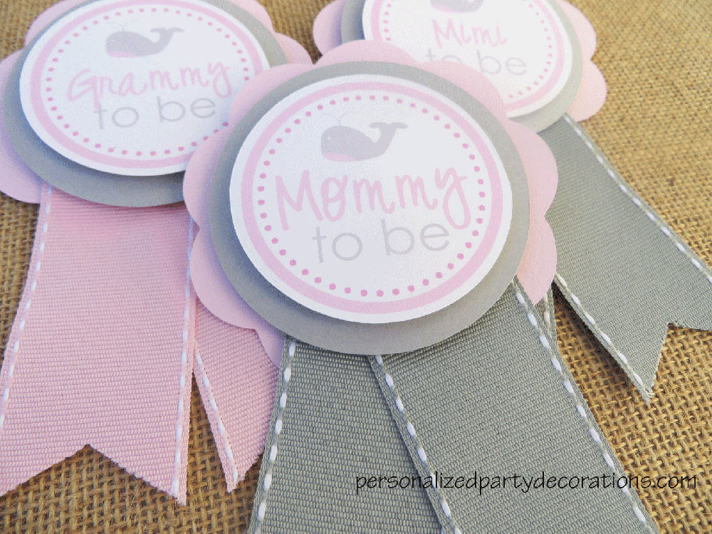 Whale Baby Shower Mom To Be Pin