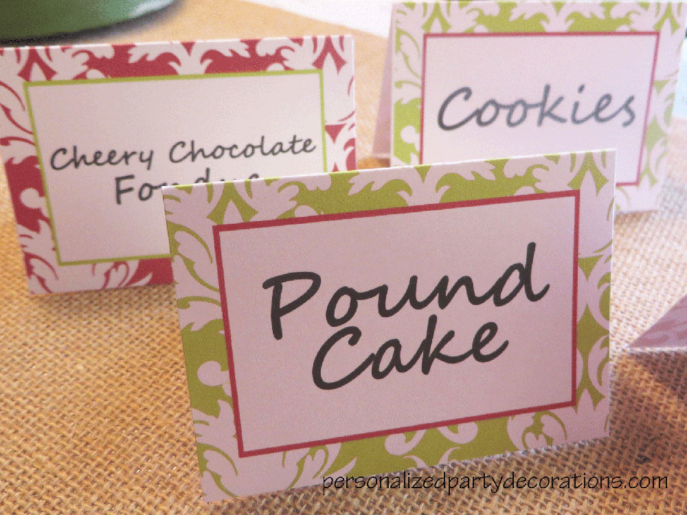 adult birthday party damask food labels