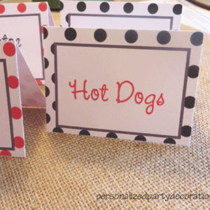 adult party polka dot buffet cards