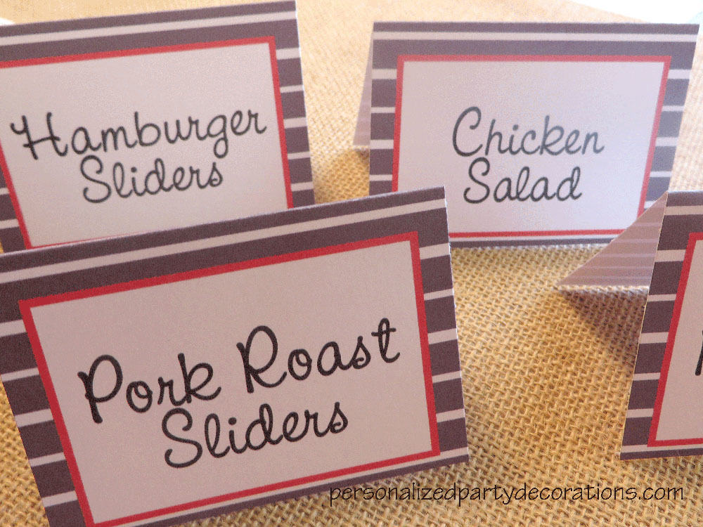 adult birthday party striped food label cards