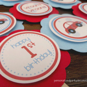red car birthday party cupcake toppers