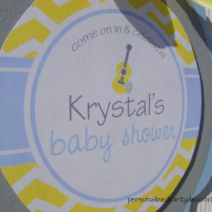 chevron guitar baby shower door sign