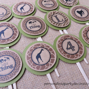 Safari Birthday Party Cupcake Toppers