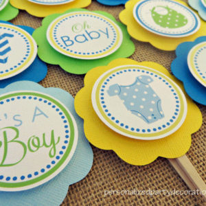 onesie baby shower cupcake picks