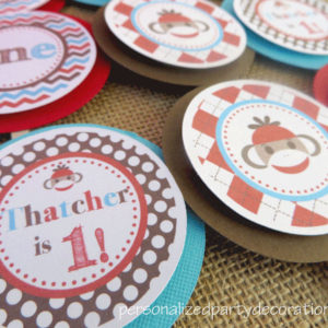 sock monkey birthday party cupcake toppers