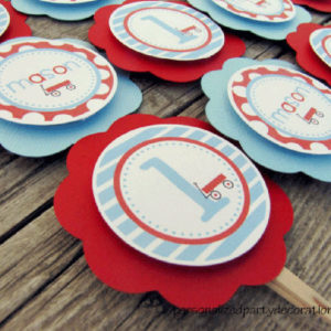 wagon birthday party cupcake picks
