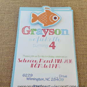 Fish Birthday Party Embellished Invite