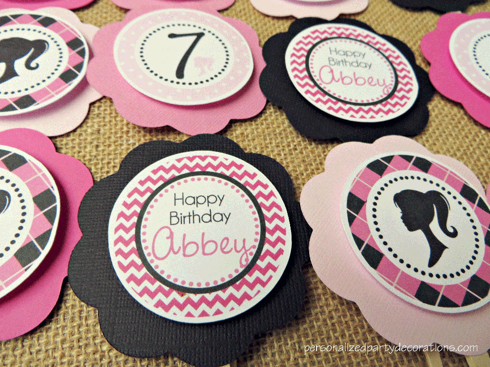 Barbie Girl Birthday Party Cupcake Toppers