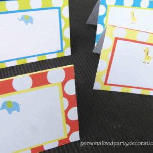 Elephant & Giraffe Baby Shower Buffet Cards